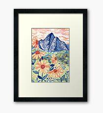 Daisy Gouache Mountain Landscape  Framed Print