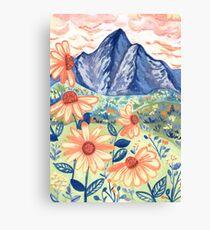 Daisy Gouache Mountain Landscape  Canvas Print