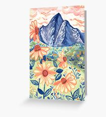 Daisy Gouache Mountain Landscape  Greeting Card