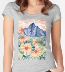 Daisy Gouache Mountain Landscape  Fitted Scoop T-Shirt