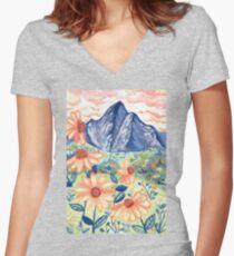 Daisy Gouache Mountain Landscape  Fitted V-Neck T-Shirt
