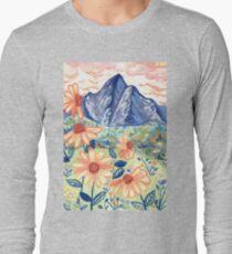 Daisy Gouache Mountain Landscape  Long Sleeve T-Shirt