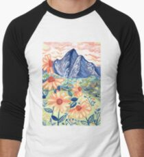 Daisy Gouache Mountain Landscape  Baseball ¾ Sleeve T-Shirt