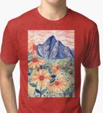 Daisy Gouache Mountain Landscape  Tri-blend T-Shirt