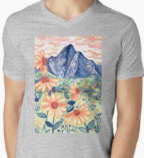 Daisy Gouache Mountain Landscape  V-Neck T-Shirt