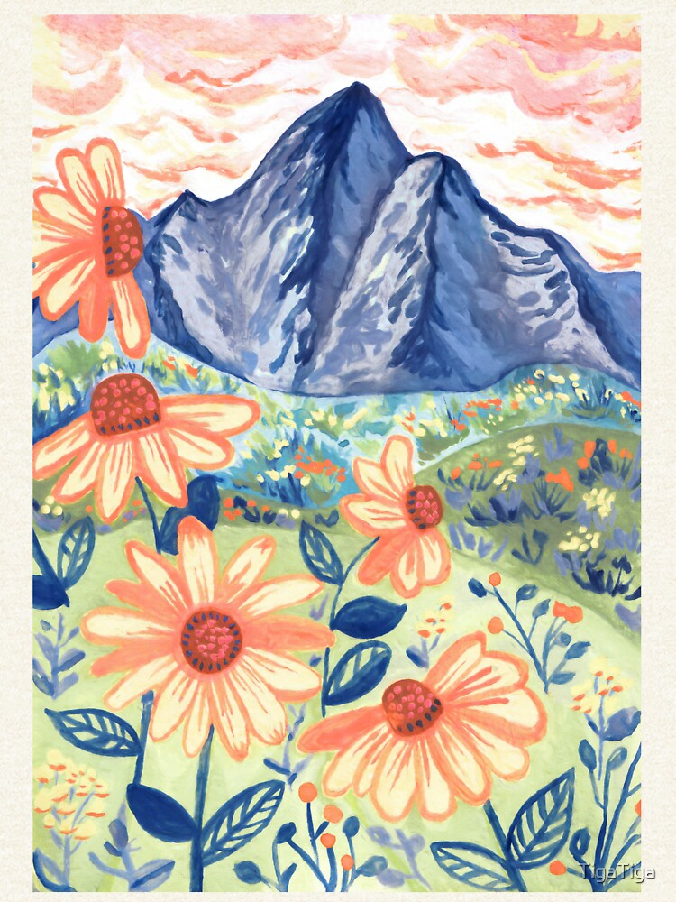 Daisy Gouache Mountain Landscape  by TigaTiga