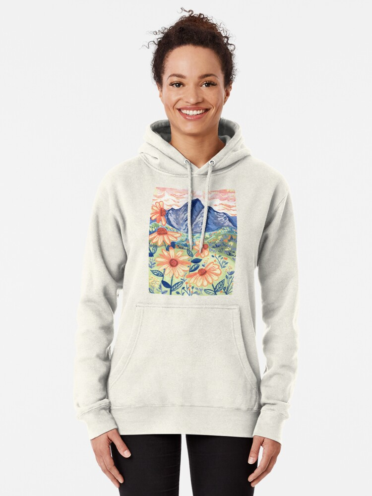 Alternate view of Daisy Gouache Mountain Landscape  Pullover Hoodie