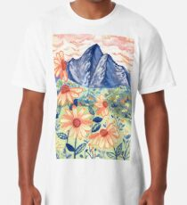 Daisy Gouache Mountain Landscape  Long T-Shirt