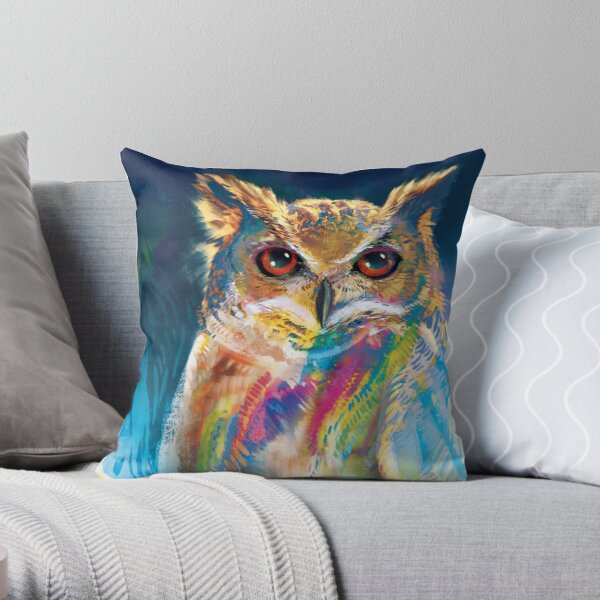 A Colorful Owl Throw Pillow