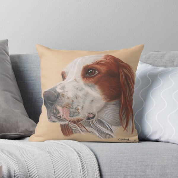 An Irish red and white Setter Throw Pillow