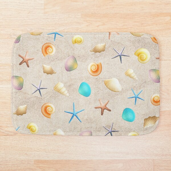 Collection of shells on sand and starfish Bath Mat