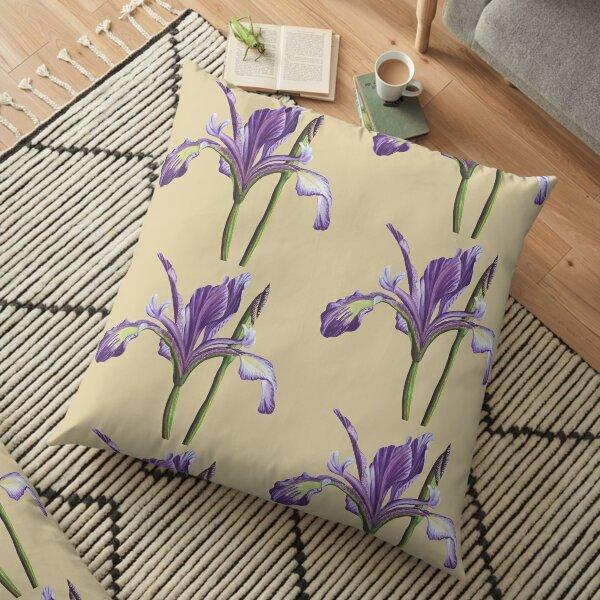 Purple Iris flower in watercolor Floor Pillow