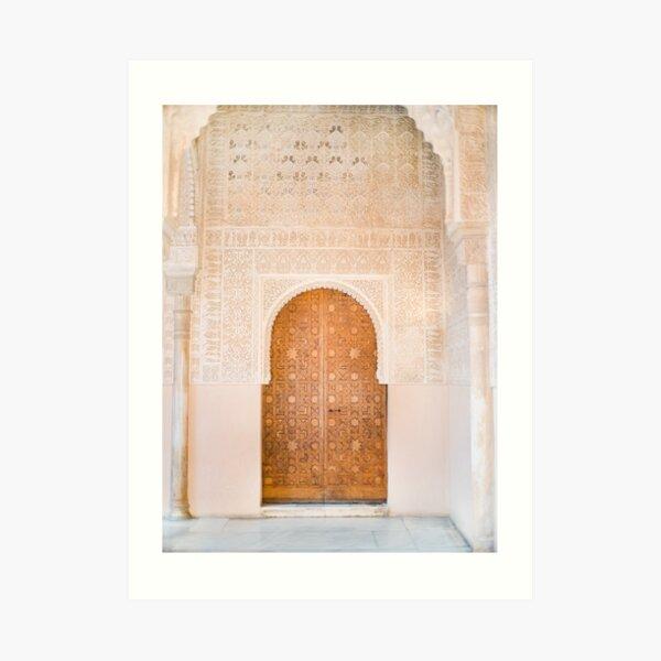 Alhambra door | Granada Spain travel photography | Bright and pastel colored photo art print Art Print