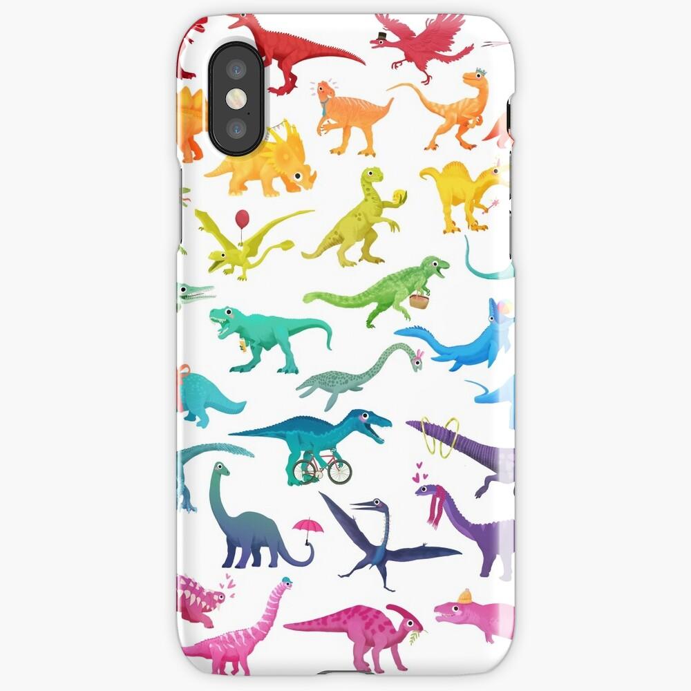Coque iPhone «Rainbow dinos»