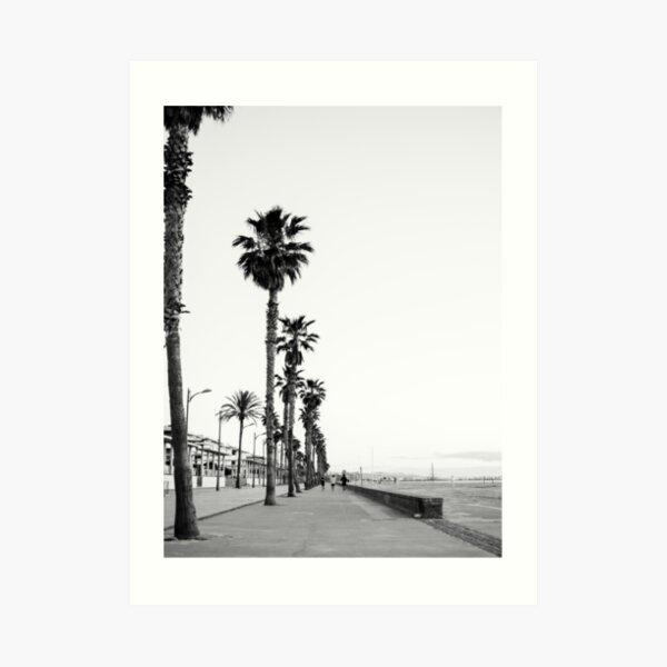Playa de Valencia | Black and white photograph of the boulevard & beach | travel art Art Print