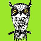 Owl on Lime Green by Casey Virata