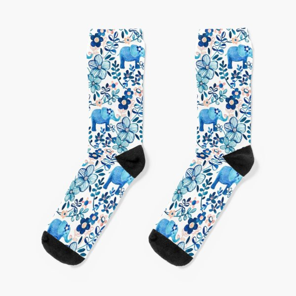 Blush Pink, White and Blue Elephant and Floral Watercolor Pattern Socks