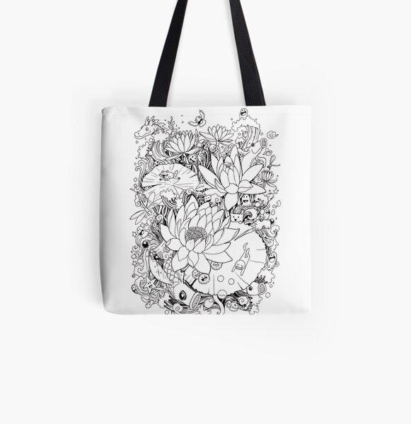 Flower and Monsters - Waterlily All Over Print Tote Bag
