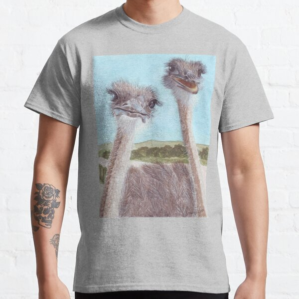 Ostriches with curious cute faces painted in watercolor. Classic T-Shirt