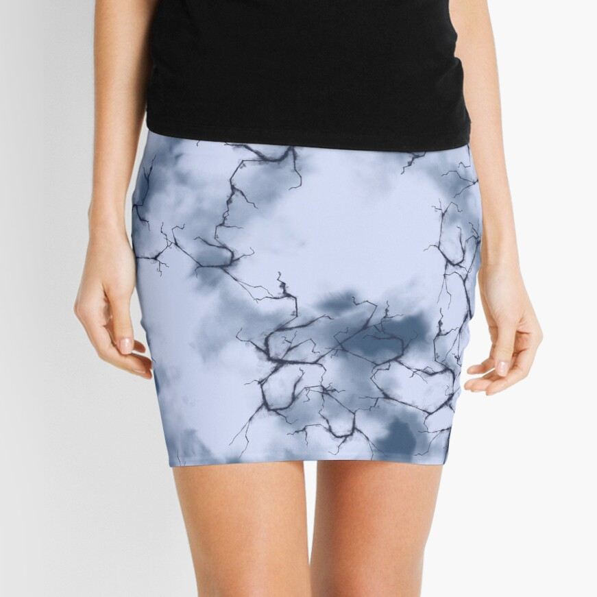 dark lightning flashes in the clouds around the eye of the storm Mini Skirt