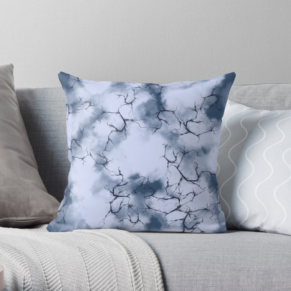 dark lightning flashes in the clouds around the eye of the storm Throw Pillow