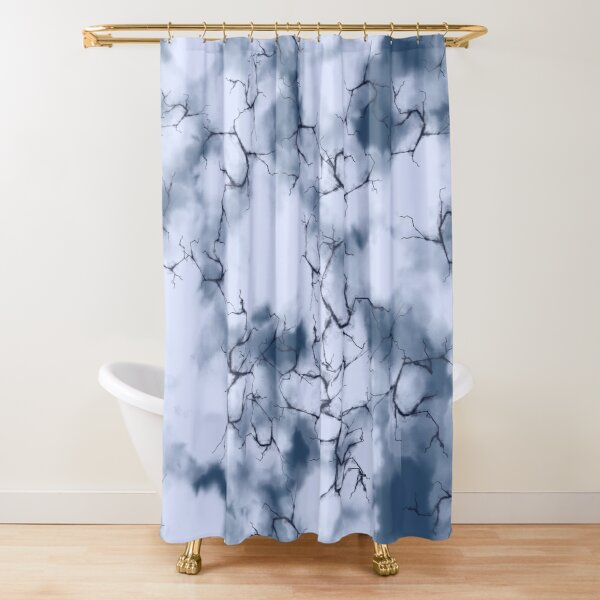 dark lightning flashes in the clouds around the eye of the storm Shower Curtain