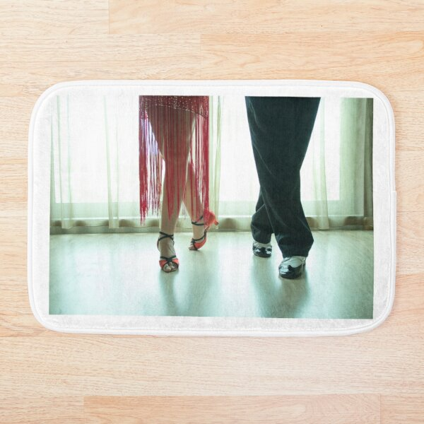 Closeup of legs of two professional latin dancers Bath Mat