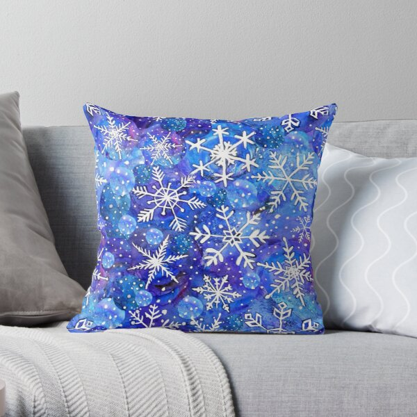 Christmas snowflake midnight sky on blue , painted in watercolor Throw Pillow