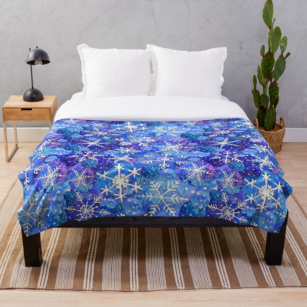 Christmas snowflake midnight sky on blue , painted in watercolor Throw Blanket