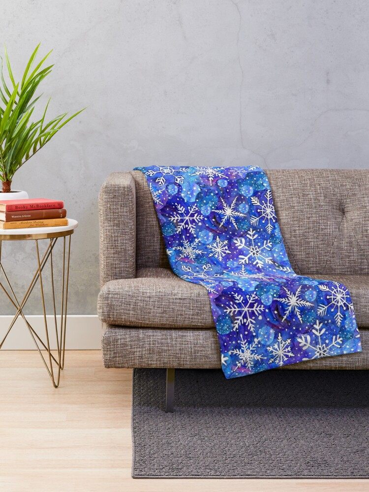 Alternate view of Christmas snowflake midnight sky on blue , painted in watercolor Throw Blanket