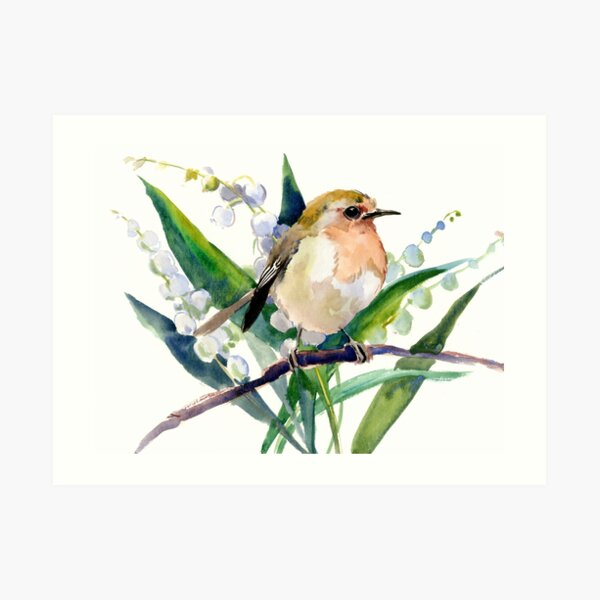 Robin Bird and Lilies of the Valley Flowers Art Print