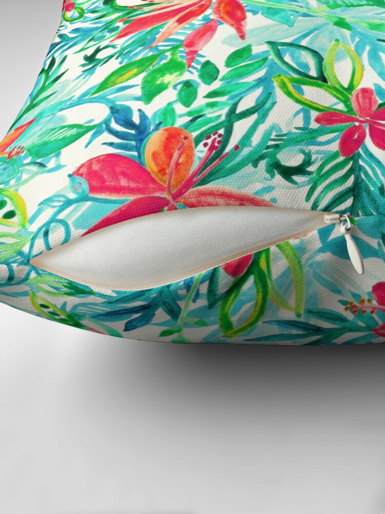 Alternate view of Paradise Floral - a watercolor pattern Throw Pillow