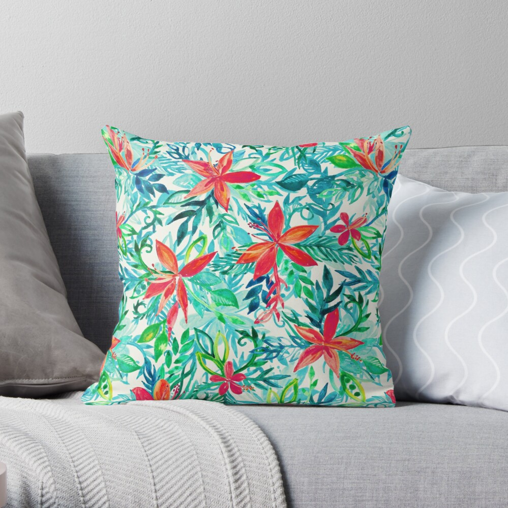 Paradise Floral - a watercolor pattern Throw Pillow