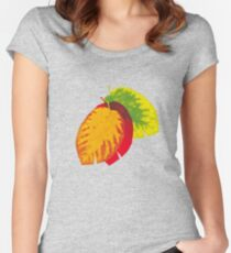 Falling leaves on blue Fitted Scoop T-Shirt