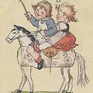 Kids having fun on Hobby Horse..vintage Germany by edsimoneit