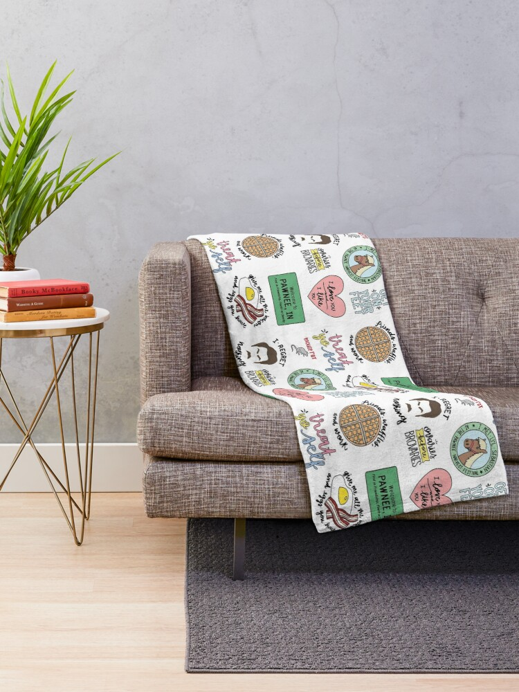 Alternate view of Parks and Recreation TV Show Art Throw Blanket