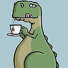 Tea-Rex - Funny T-Rex Dinosaur Tea Pun Cartoon Illustration by carlbatterbee