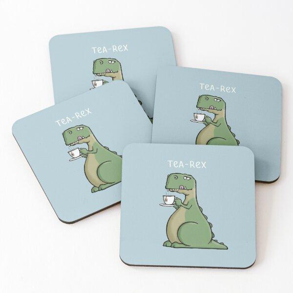 Tea-Rex - Funny T-Rex Dinosaur Tea Pun Cartoon Illustration Coasters (Set of 4)