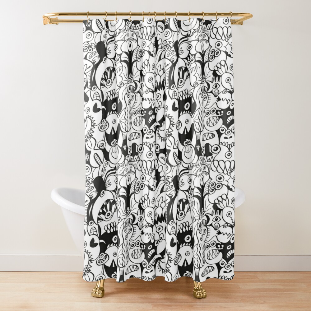 Doodles get crazy when posing for a pattern design Shower Curtain