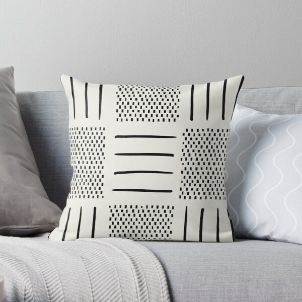 Mud Cloth Patchwork in Cream Throw Pillow
