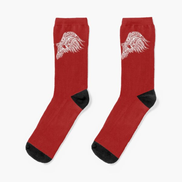 Angel Wing Illustration Socks! Original Art - Red and White! Socks