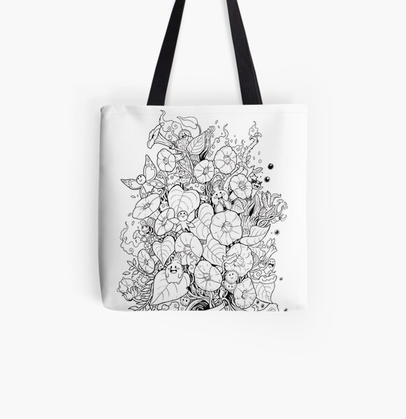 Flower and Monsters - Morning Glory All Over Print Tote Bag