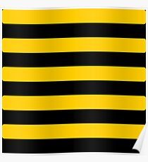Bee pattern black and yellow stripes Poster