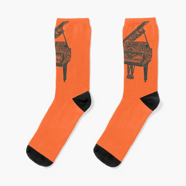 Grand Piano Illustration Socks! Original Art - Dark Blue and Orange Socks