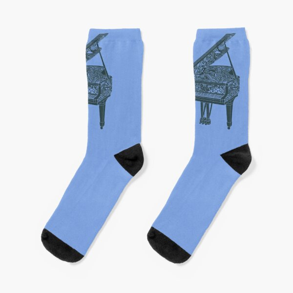 Grand Piano Illustration Socks! Original Art - Dark Blue and Light Blue (or periwinkle) Socks
