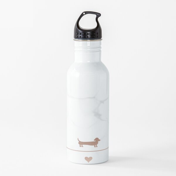Rose gold and marble dachshund love Water Bottle