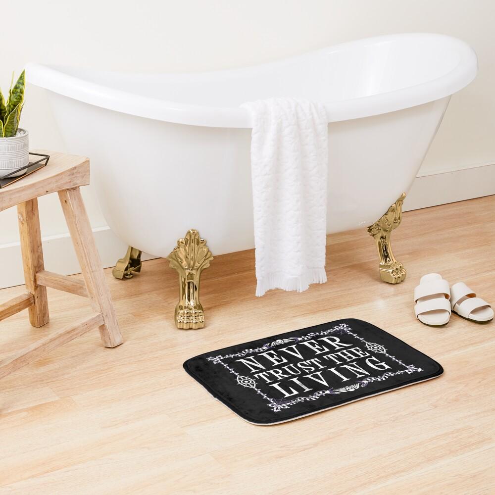 Never Trust The Living - Beetlejuice - Creepy Cute Goth - Occult Bath Mat