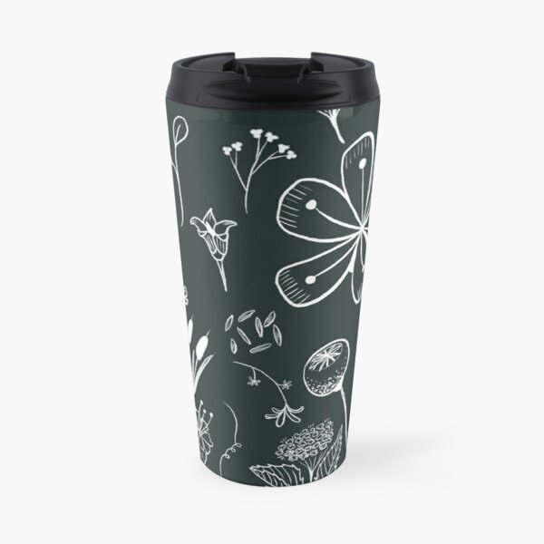 Hand drawn wildflower pattern Travel Mug