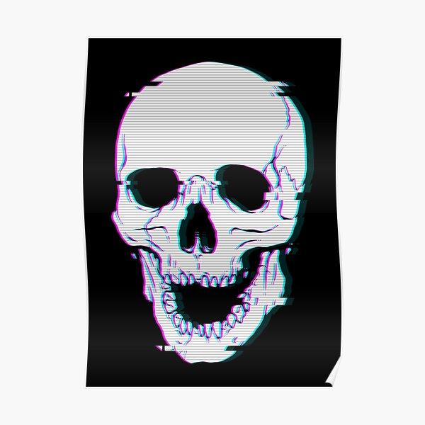 Glitch Skull Poster