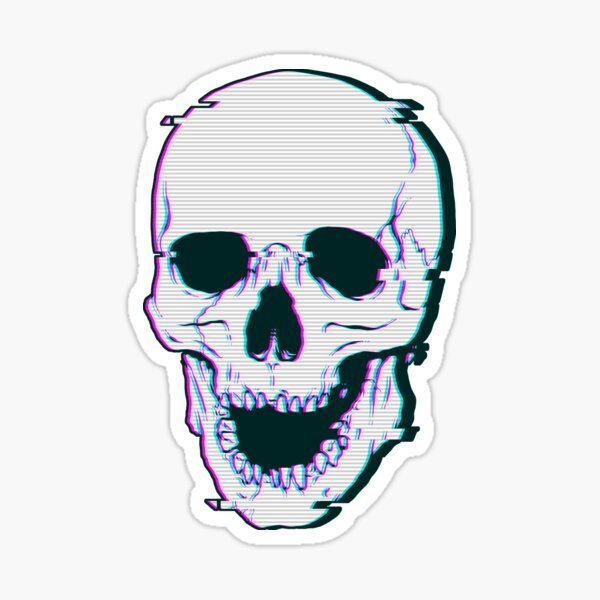 Glitch Skull Sticker